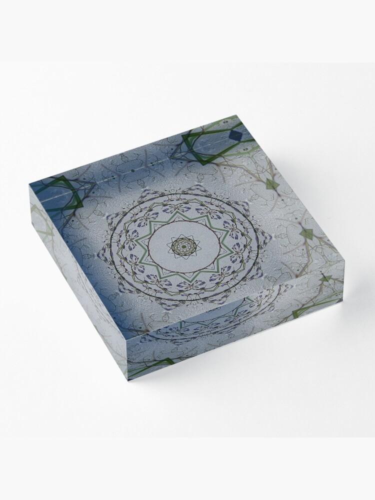 Alternate view of Light grey mandala Acrylic Block