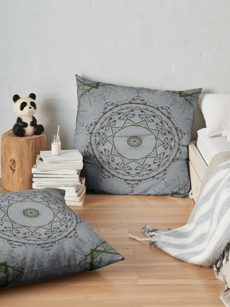 Alternate view of Light grey mandala Floor Pillow