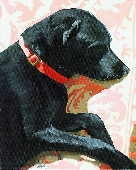 Sun Dog - dog portrait oil painting by LindaAppleArt