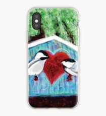 Chickadees Love in Winter iPhone Case