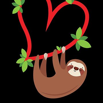 Sloth Hanging from a Heart Valentines Day Gift by EstelleStar