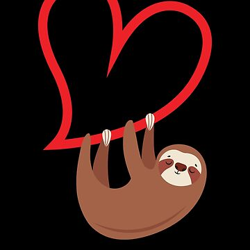 Valentines Day Sloth Hanging from a Heart by EstelleStar