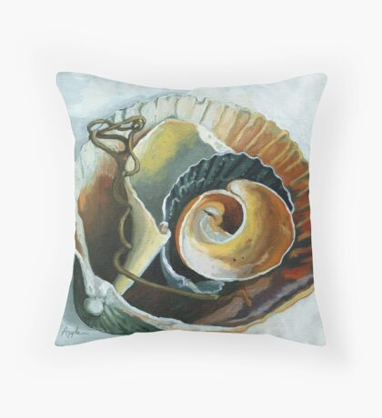 The Collection - seashell oil painting Throw Pillow