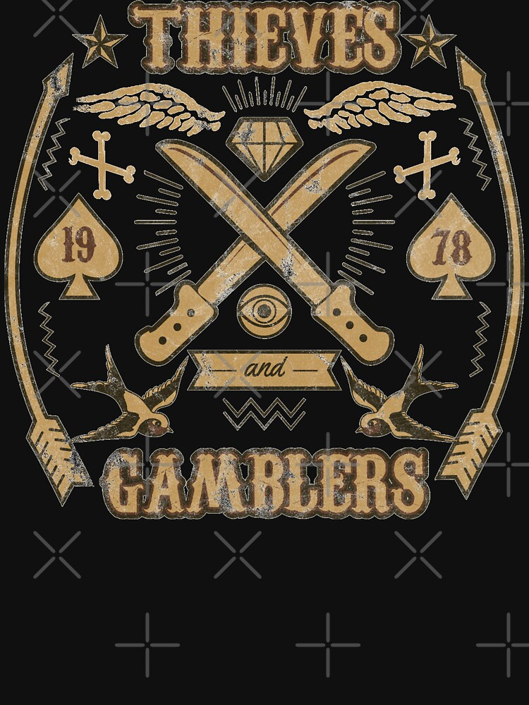 Thieves And Gamblers Retro Faded Traditional Outlaw Tattoo Flash  by thespottydogg