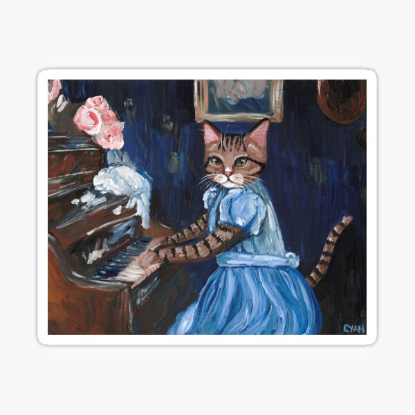 Kitty at the Piano Sticker