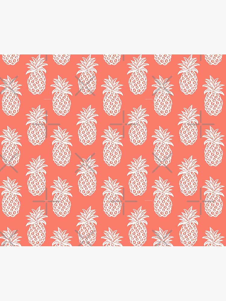 pineapple coral, White Pineapple sketch on coral by MagentaRose