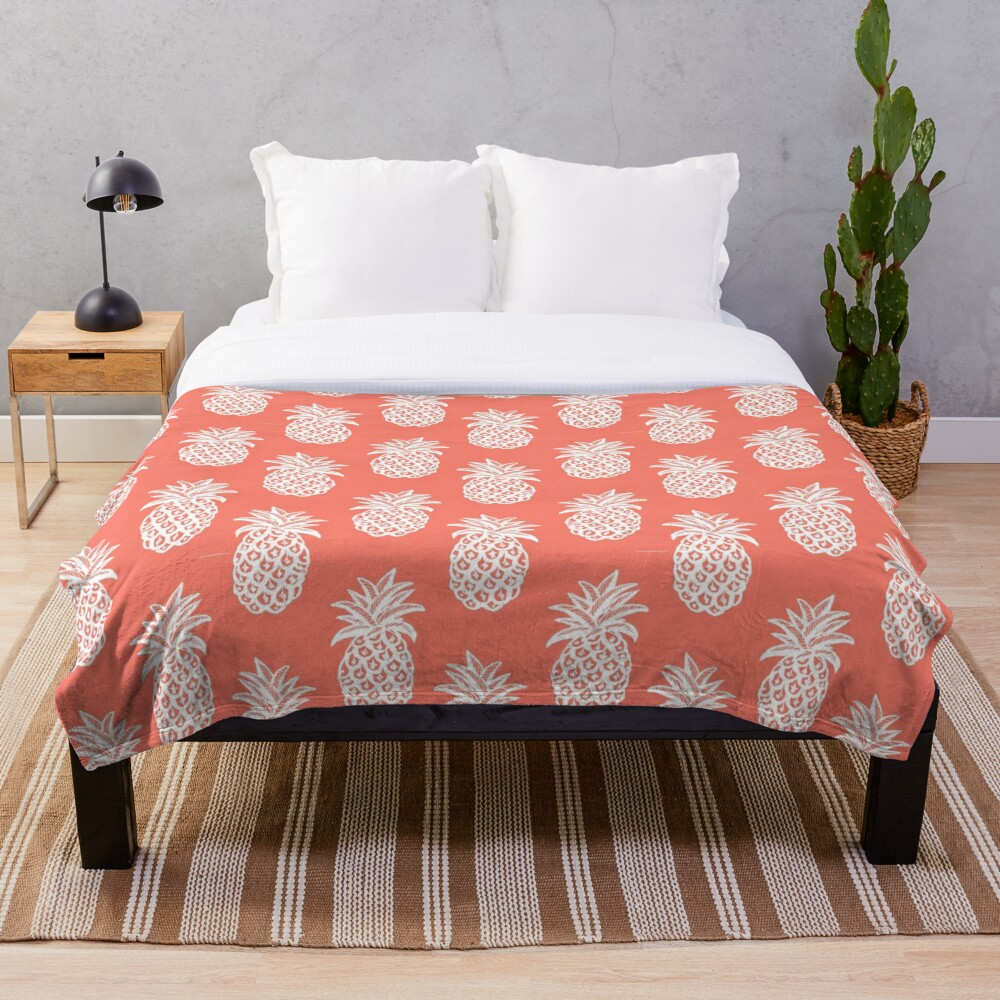 pineapple coral, White Pineapple sketch on coral Throw Blanket
