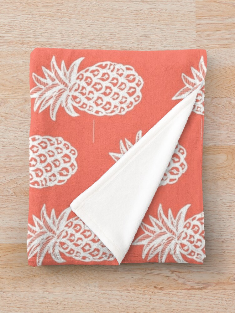 Alternate view of pineapple coral, White Pineapple sketch on coral Throw Blanket