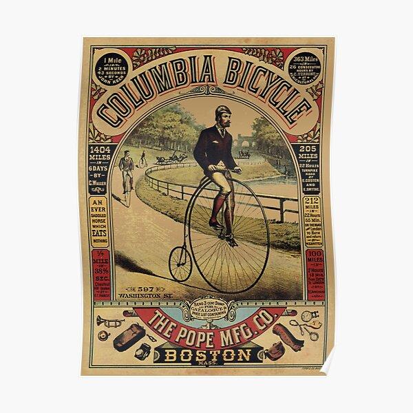 PENNY FARTHING BICYCLE BOSTON USA ADVERTISING RETRO POSTER 1486PYLV
