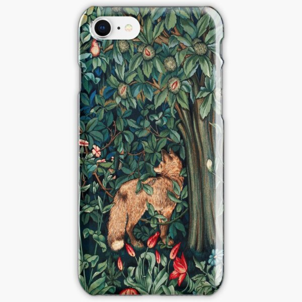 GREENERY, FOREST ANIMALS Fox and Hares Blue Green Floral Tapestry iPhone Snap Case
