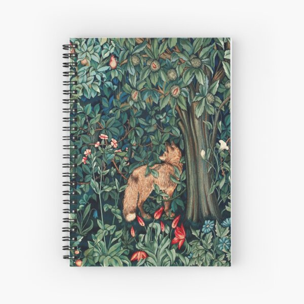 GREENERY, FOREST ANIMALS Fox and Hares Blue Green Floral Tapestry Spiral Notebook