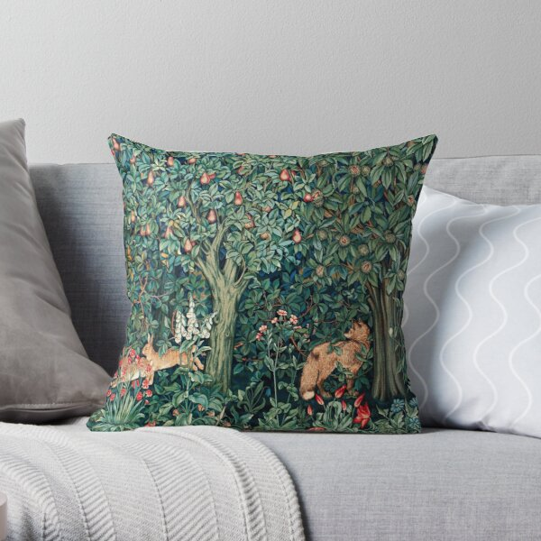 GREENERY, FOREST ANIMALS Fox and Hares Blue Green Floral Tapestry Throw Pillow