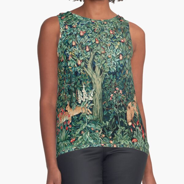 GREENERY, FOREST ANIMALS Fox and Hares Blue Green Floral Tapestry Sleeveless Top