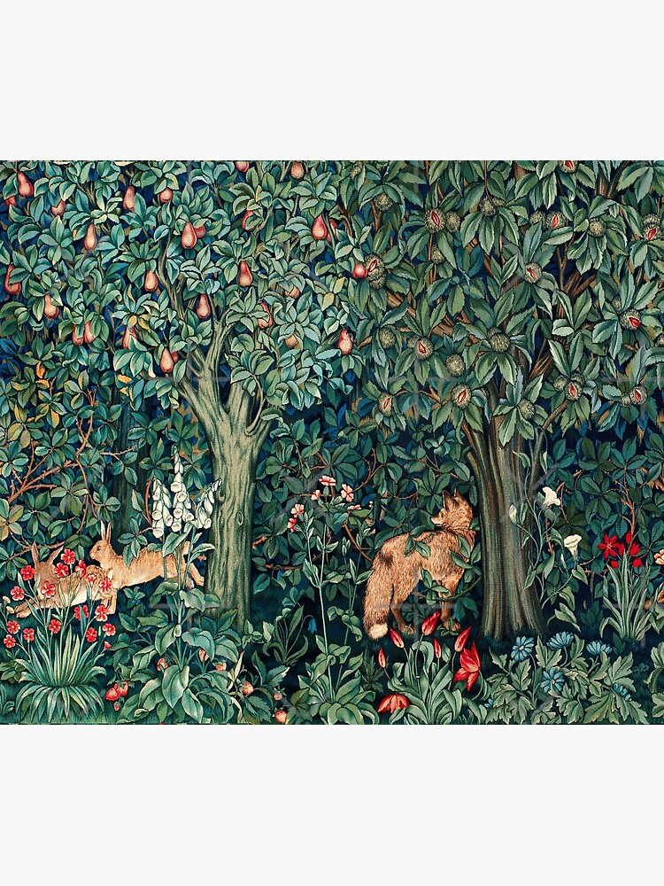 GREENERY, FOREST ANIMALS Fox and Hares Blue Green Floral Tapestry by BulganLumini