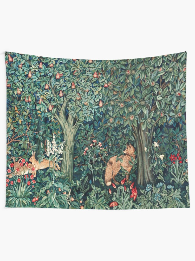 Alternate view of GREENERY, FOREST ANIMALS Fox and Hares Blue Green Floral Tapestry Tapestry
