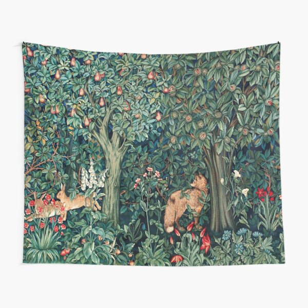 GREENERY, FOREST ANIMALS Fox and Hares Blue Green Floral Tapestry Tapestry