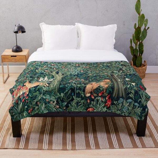 GREENERY, FOREST ANIMALS Fox and Hares Blue Green Floral Tapestry Throw Blanket