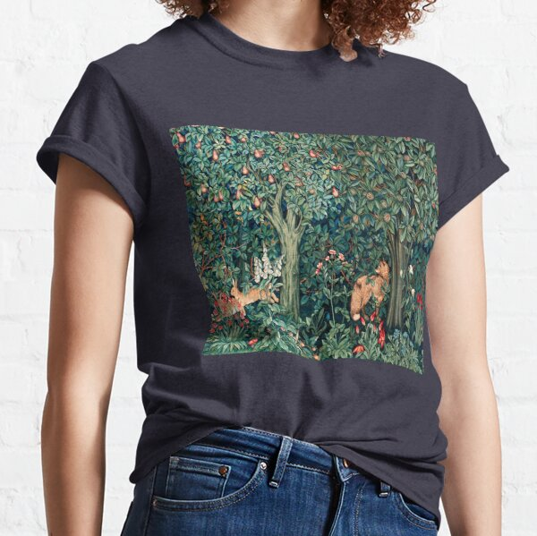 GREENERY, FOREST ANIMALS Fox and Hares Blue Green Floral Tapestry Classic T-Shirt