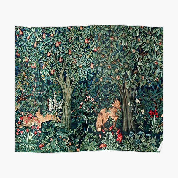 GREENERY, FOREST ANIMALS Fox and Hares Blue Green Floral Tapestry Poster
