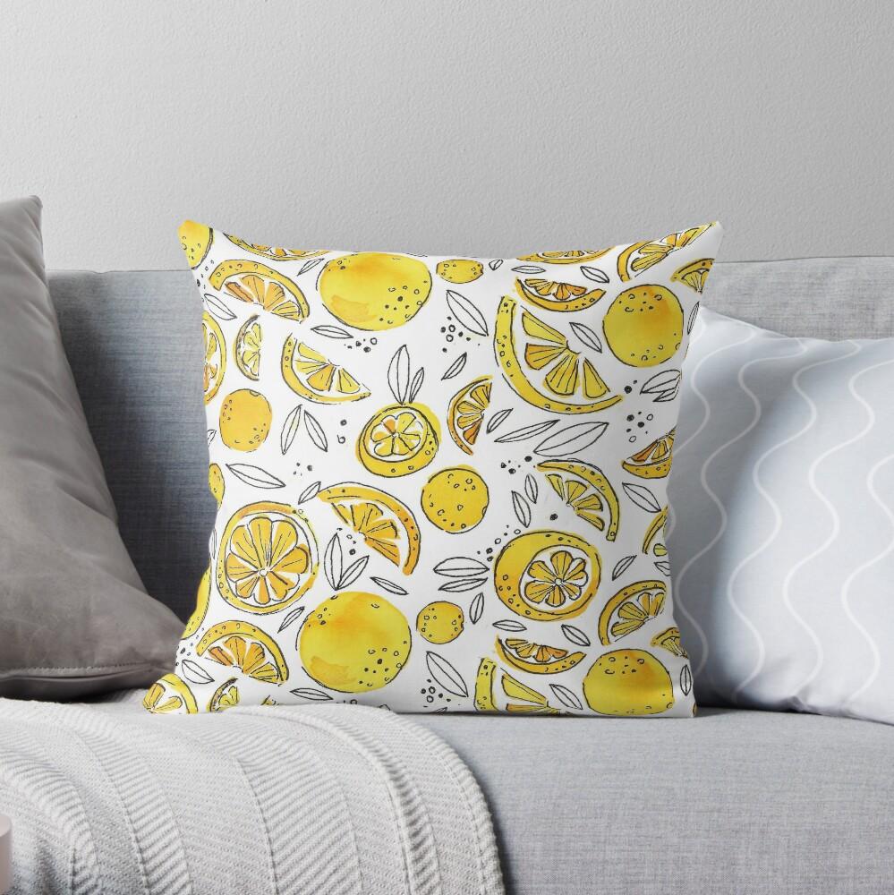 Hand Painted Watercolor Lemons- Troubles Melt Like Lemon Drops Throw Pillow