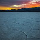 Death Valley, Badwater Sunset over the White Mountains with Snow by photosbyflood