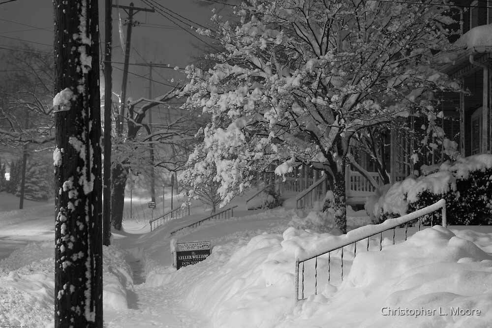 High Street Snow Scene by Christopher L. Moore
