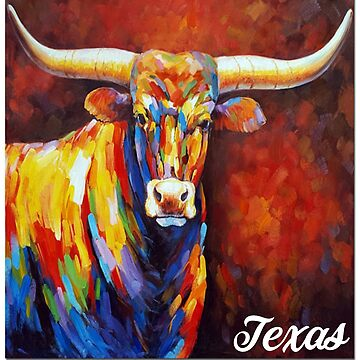 Texas Longhorn Cattle - Texas Longhorn Cow - Cow Painting - Cow Gift - Gift For Cow Lovers by Galvanized