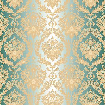 Damasks,vintage,green,gold,victorian,elegant,chic,floral,pattern by love999