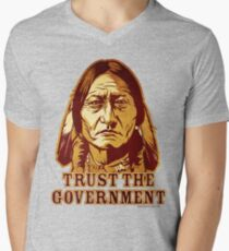 Trust The Government Sitting Bull Edition Men's V-Neck T-Shirt