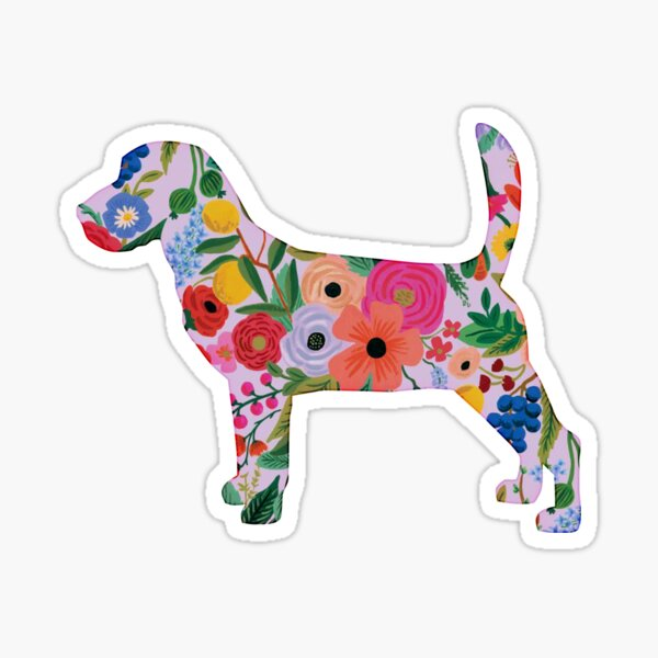 Beagle -- Dog Cute Colorful Floral Sticker