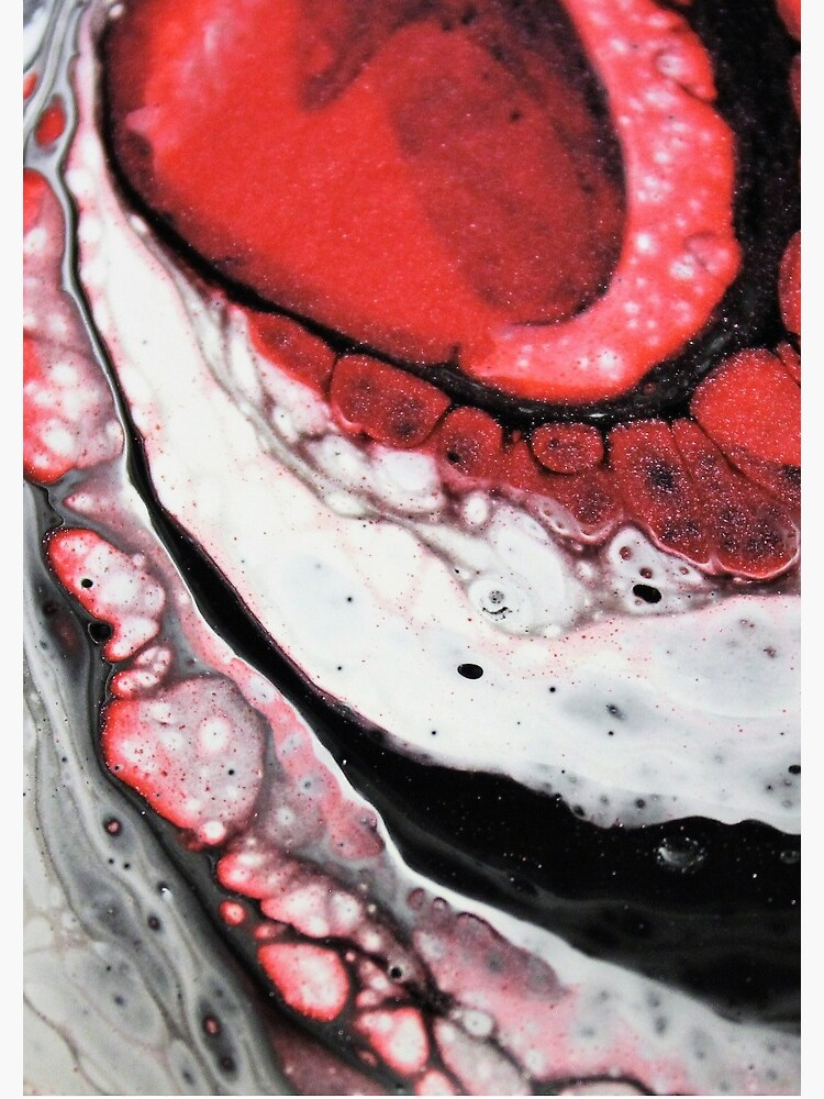 Poured painting - red, white and black by themuseinspired