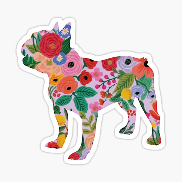 French Bulldog -- Dog Cute Colorful Floral Sticker