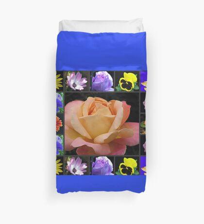 Sommer-Blumen-Collage, die Rose kennzeichnet Bettbezug
