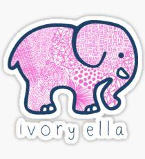 ivory ella pink and blue zentangle elephant Sticker