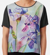 Irises Watercolor Chiffon Top