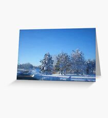 Snowy Pines Winter Painting Greeting Card