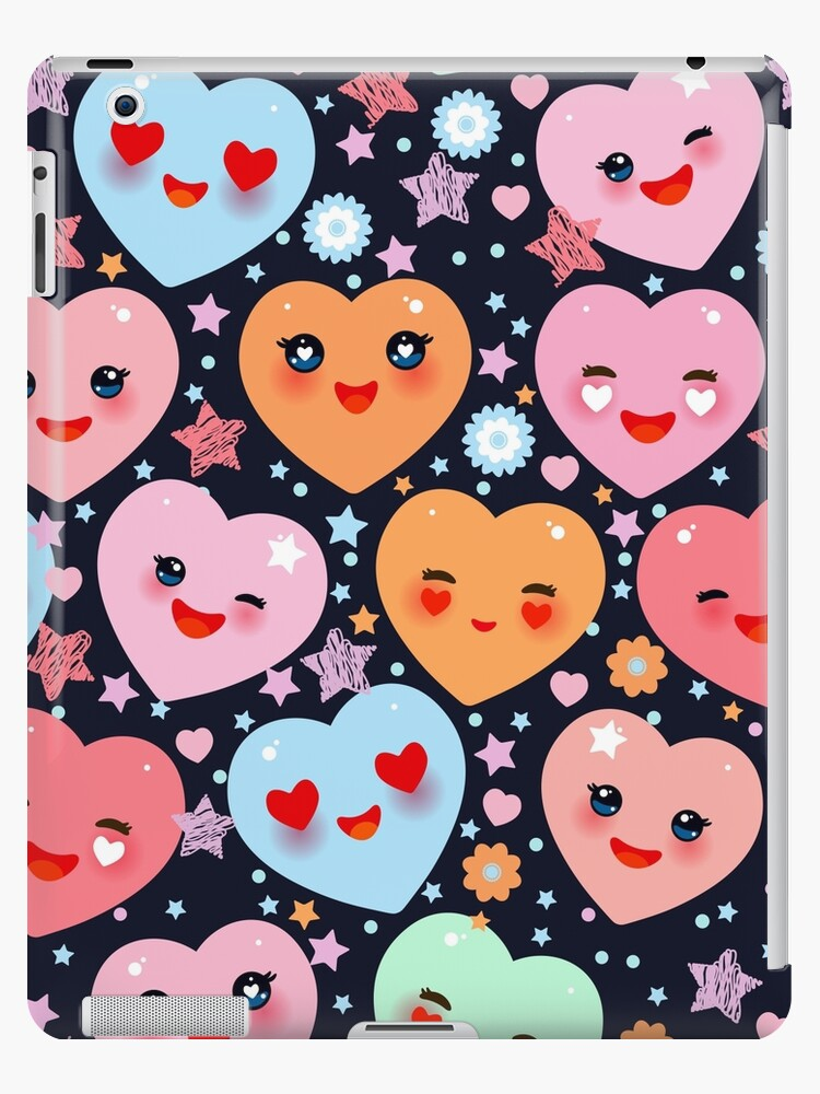 Funny Kawaii heart pink, yellow, lilac, orange, blue green, on black background. Valentine's Day  by EkaterinaP