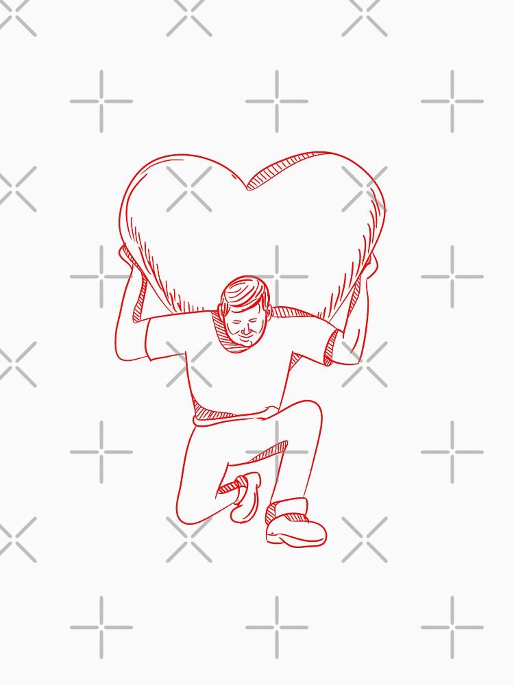 Modern Atlas Lifting Heart on Back Drawing by patrimonio