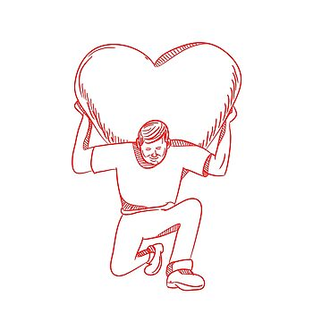 Modern Atlas Lifting Heart on Back Drawing by patrimonio