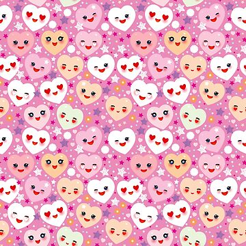 pattern Funny Kawaii heart pink, lilac, orange, green, on pink fuchsia background. Valentine's Day by EkaterinaP