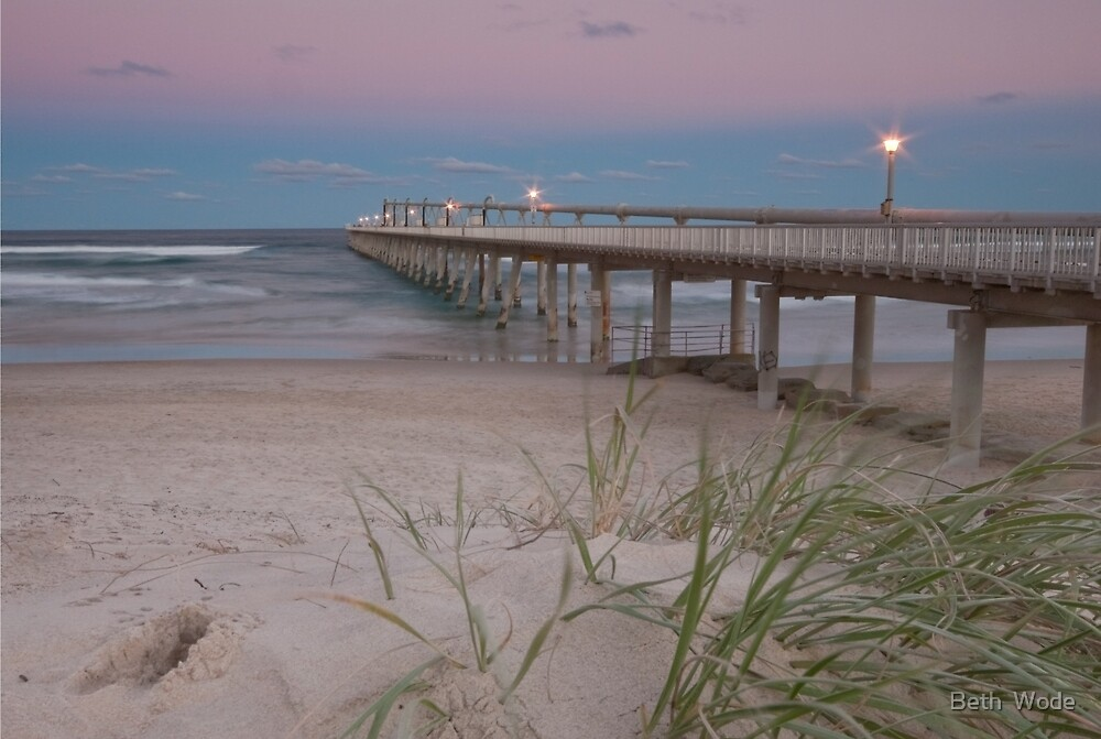 Dusk on the Jetty -Sandpumping Jetty at the Spit on the Gold Coast Qld by Beth  Wode