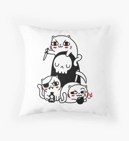 Death Is A Cat Person Throw Pillow