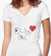 DOG - true romantic on white Women's Fitted V-Neck T-Shirt
