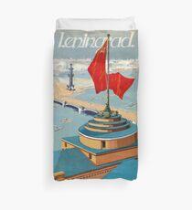 Leningrad Vintage Travel Poster Restored Duvet Cover