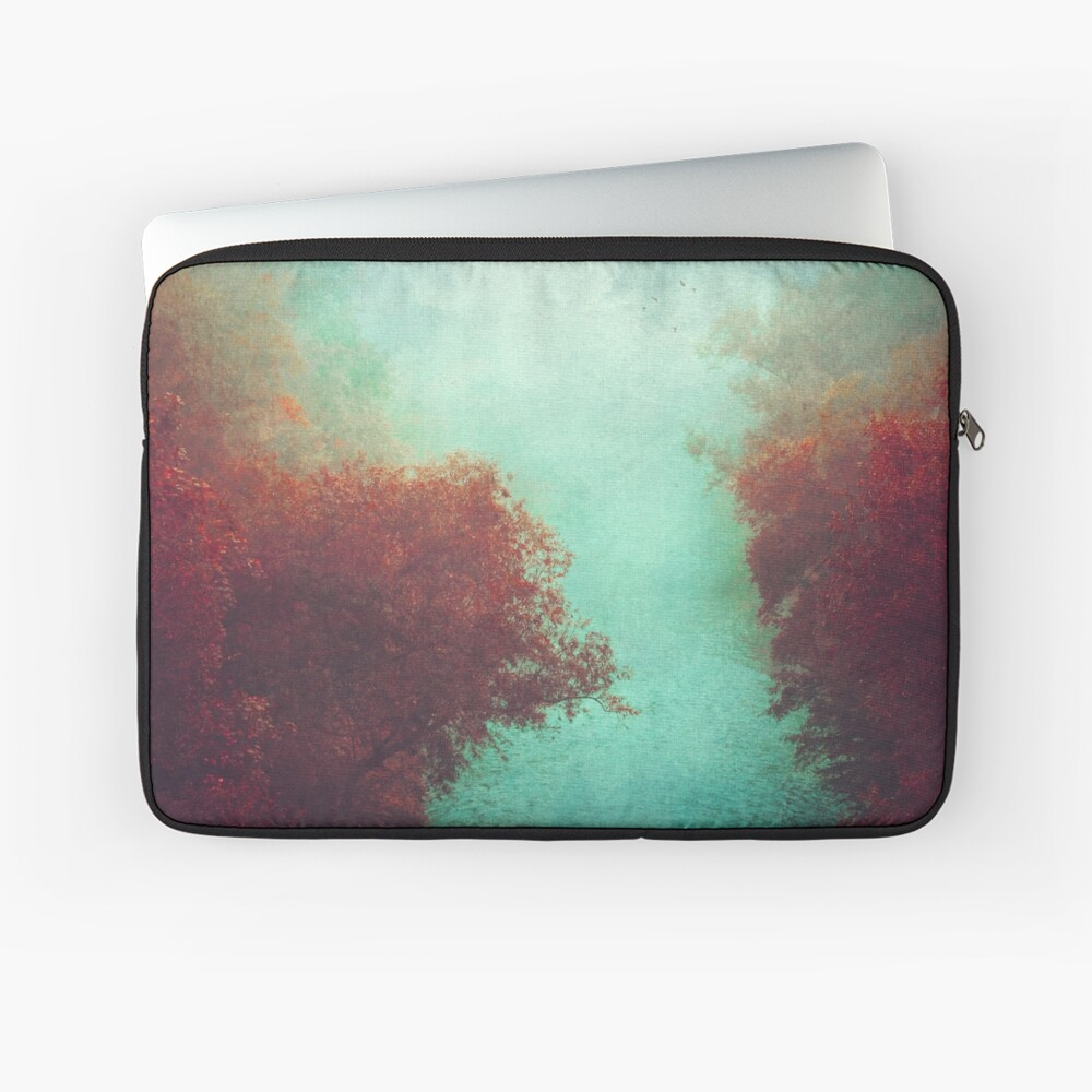 Copper Trees and Teal River on a misty morning Laptop Sleeve