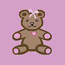Teddy bear with a pink bow by goanna