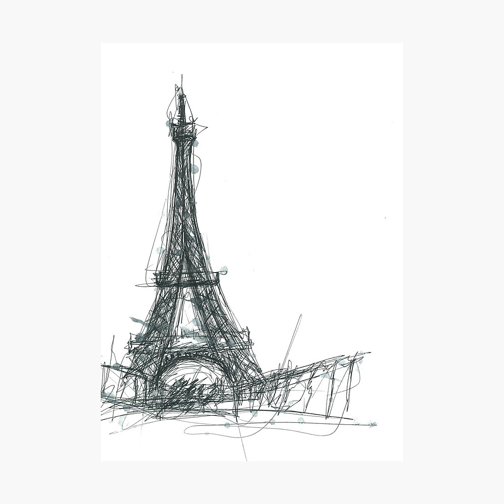 Eiffel tower sketch photographic print