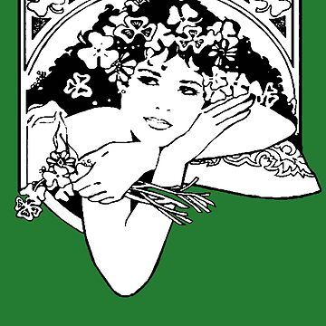 Line Drawing of Irish Woman Holding Shamrocks by taiche