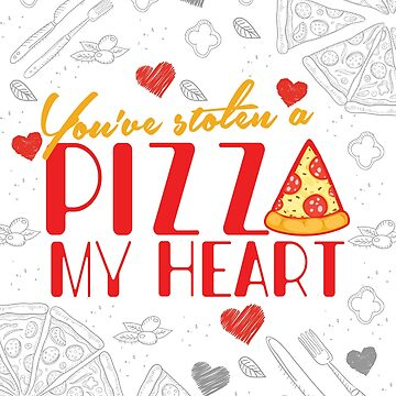 'You've Stolen a Pizza Heart' Sweet Valentines Lovers Gift by leyogi