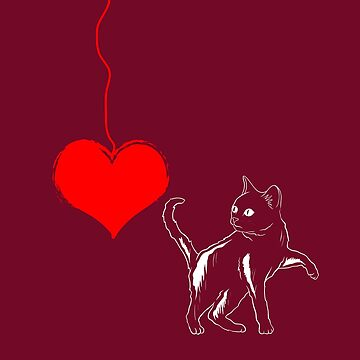 Cat And Heart Valentines Day T shirt by 3familyllc